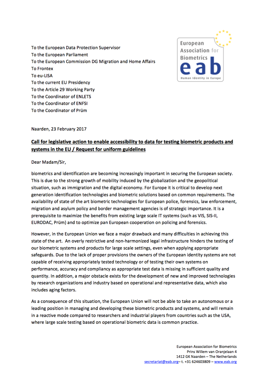[Illustration] EAB Letter on Biometric Data in EU