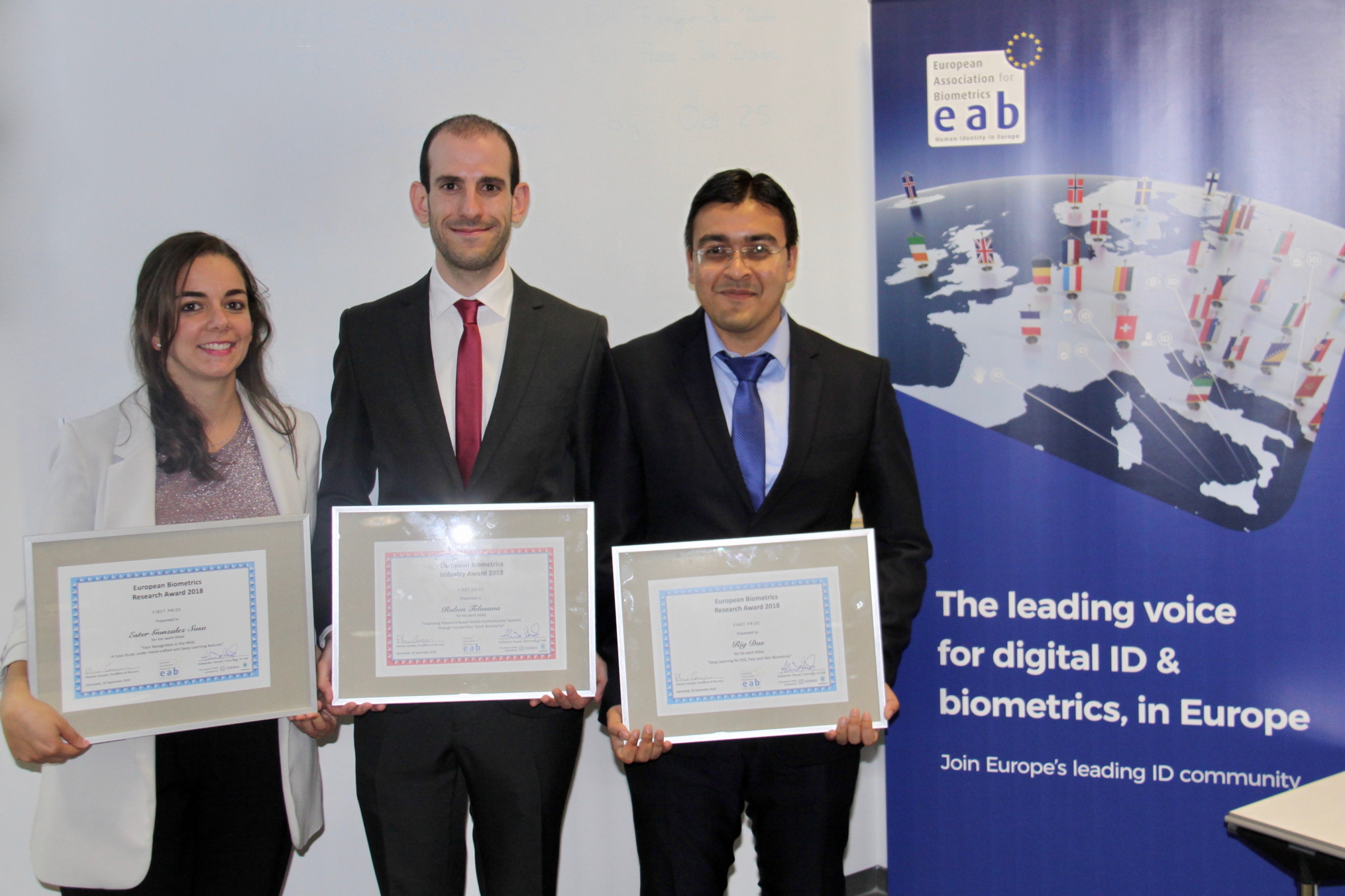 [Photo] The winners of the European BViometrics Research and Industry Awards 2018: Ester Gonzalez Sosa, Ruben Tolosana and Rig Das